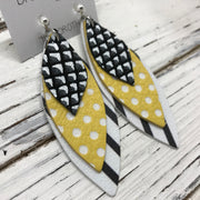 DOROTHY - Leather Earrings  ||  BLACK & WHITE MERMAID, YELLOW WITH WHITE POLKADOTS, BLACK & WHITE STRIPE