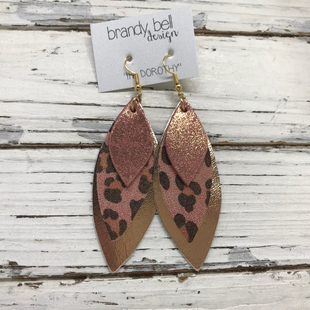 DOROTHY - Leather Earrings  ||  SHIMMER VINTAGE PINK, PINK CHEETAH, METALLIC SMOOTH ROSE GOLD