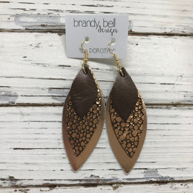 DOROTHY - Leather Earrings  ||  BROWN PEARL, COPPER DOTS ON BROWN, METALLIC SMOOTH ROSE GOLD