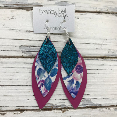 DOROTHY - Leather Earrings  ||  SHIMMER TEAL, PINK & PURPLE FLORAL, MATTE SMOOTH RASPBERRY