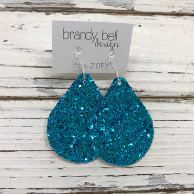 ZOEY (3 sizes available!) -  GLITTER ON CANVAS Earrings  (not leather)  || TEAL GLITTER