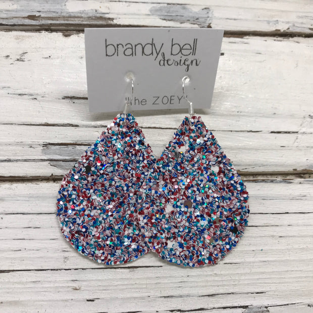 ZOEY (3 sizes available!) -  GLITTER ON CANVAS Earrings  (not leather)  || AMERICANA GLITTER