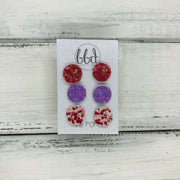 Poppy- 3 PACK  - FAUX LEATHER Glitter Stud Earrings || RASPBERRY FIZZ, <BR> RED & PINK, <BR> PEACH