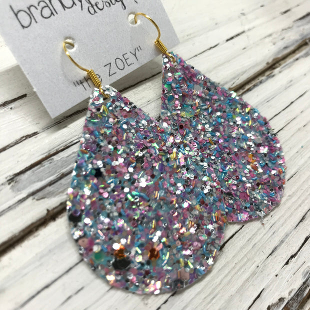 ZOEY (3 sizes available!) -  GLITTER ON CANVAS Earrings  (not leather)  || UNICORN SPRINKLES GLITTER