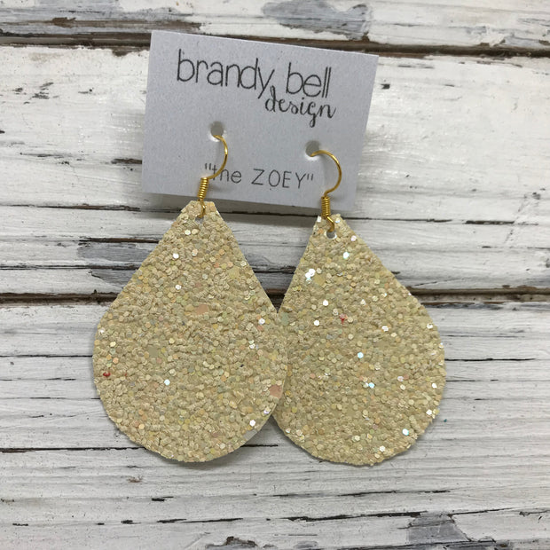 ZOEY (3 sizes available!) -  GLITTER ON CANVAS Earrings  (not leather)  || IVORY/BUTTERCREAM GLITTER