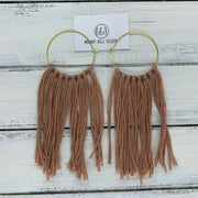 HALEY- Tassel Hoop Earrings <BR> DUSTY ROSE TASSEL FRINGE (BB3773)