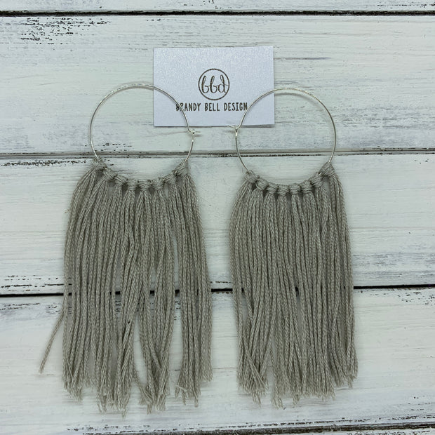 HALEY- Tassel Hoop Earrings <BR> LIGHT GRAY/TAUPE TASSEL FRINGE (BB648)