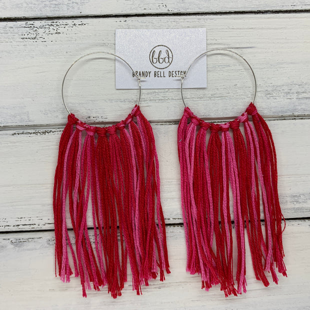 HALEY- Tassel Hoop Earrings <BR> OMBRE PINK & RED TASSEL FRINGE