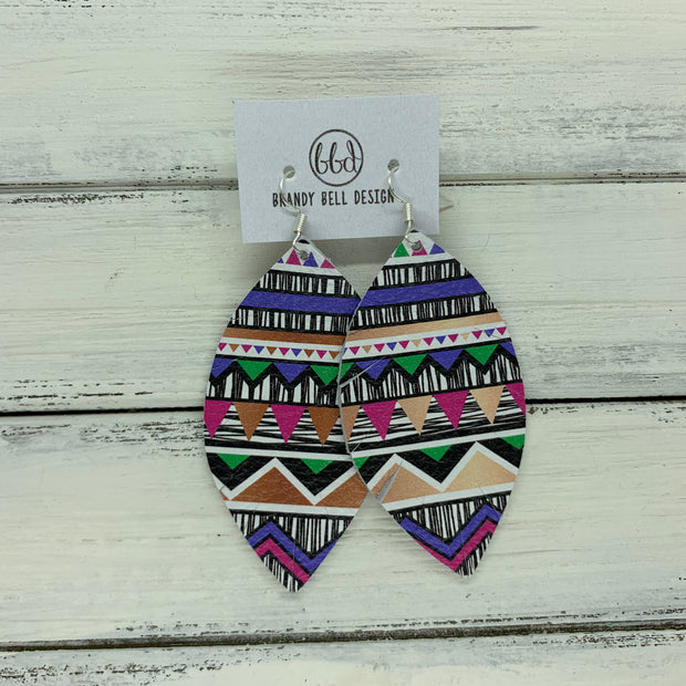 MAISY - Leather Earrings  ||  PURPLE, PINK, GREEN & BLACK/WHITE AZTEZ (PATTERN PLACEMENT WILL VARY*)