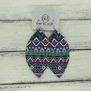 MAISY - Leather Earrings  ||  PURPLE, PINK, & AQUA AZTEZ (PATTERN PLACEMENT WILL VARY*)