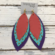 GINGER - Leather Earrings  || MATTE SALMON, AQUA WITH GOLD POLKADOTS, MATTE PURPLE
