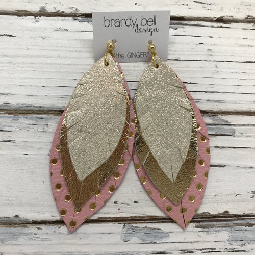 GINGER - Leather Earrings  || SHIMMER GOLD, METALLIC GOLD, PINK WITH METALLIC GOLD POLKA DOTS