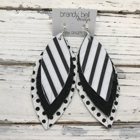 GINGER - Leather Earrings  || BLACK & WHITE STRIPES, SHIMMER BLACK, BLACK & WHITE POLKA DOTS