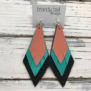 COLLEEN -  Leather Earrings  ||  MATTE CORAL, PEARLIZED AQUA, MATTE BLACK