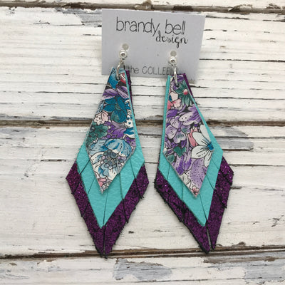 COLLEEN -  Leather Earrings  ||  PURPLE/TEAL FLORAL, MATTE ROBINS EGG BLUE, SHIMMER FUCHSIA PURPLE