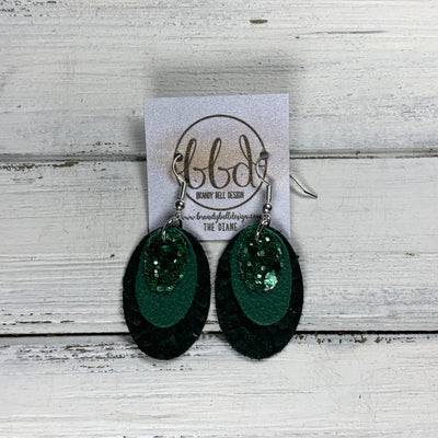DIANE - Leather Earrings  ||    <BR> JADE GLITTER (FAUX LEATHER), <BR> MATTE EMERALD GREEN, <BR> HUNTER GREEN BRAID
