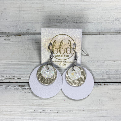 GRAY - Leather Earrings  ||    <BR> IRIDESCENT WHITE GLITTER (FAUX LEATHER), <BR> METALLIC CHAMPAGNE COBRA, <BR> MATTE WHITE
