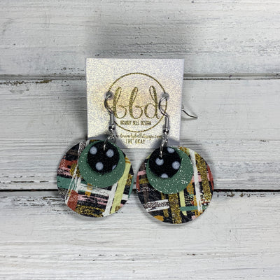GRAY - Leather Earrings  ||    <BR> BLACK & WHITE POLKADOT, <BR> SHIMMER MINT GREEN, <BR> FALL ABSTRACT BRUSHSTROKES
