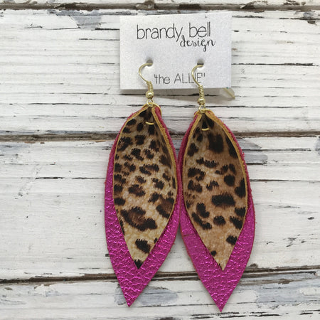 ALLIE -  Leather Earrings  || LEOPARD/CHEETAH PRINT, METALLIC NEON PINK