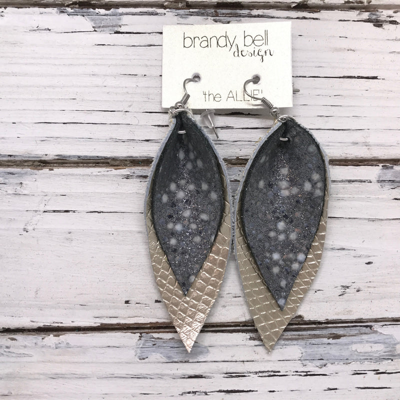 ALLIE -  Leather Earrings  || SILVER STINGRAY, METALLIC CHAMPAGNE COBRA