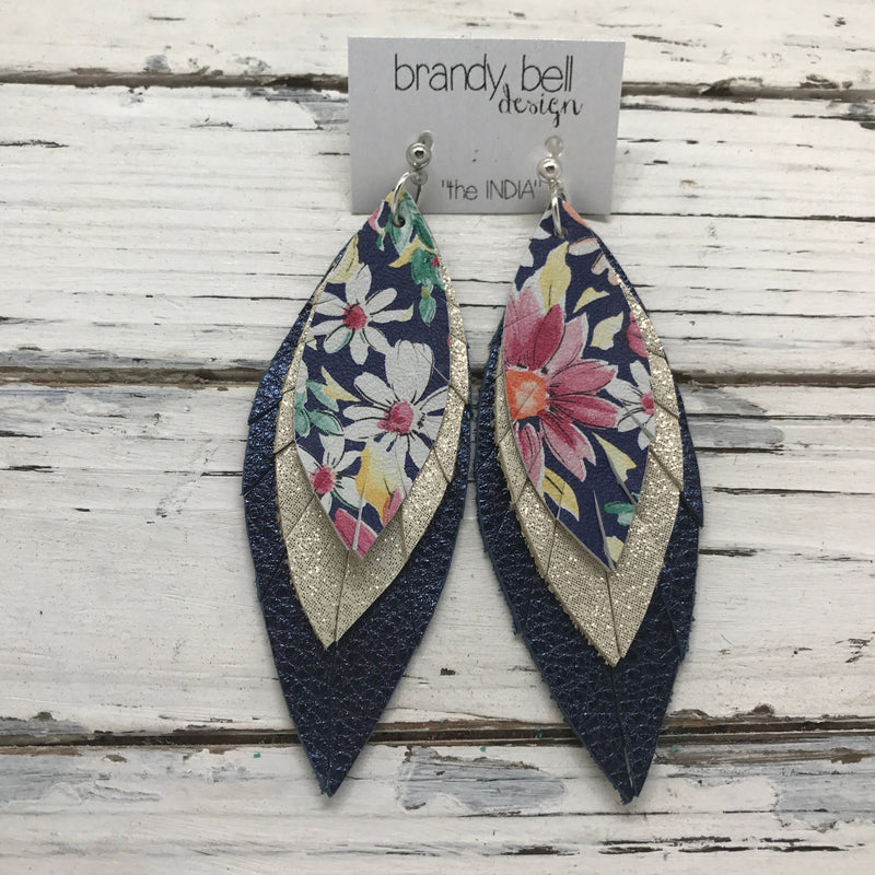 INDIA - Leather Earrings  ||  NAVY FLORAL, SHIMMER GOLD, METALLIC TEXTURE NAVY