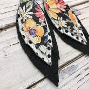INDIA - Leather Earrings  ||  FLORAL ON BLACK, WHITE WITH BLACK POLKA DOTS, MATTE BLACK