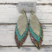 INDIA - Leather Earrings  ||  SHIMMER GOLD, AQUA WITH METALLIC GOLD POLKA DOTS, METALLIC MERMAID IN PINK/GREEN/GOLD