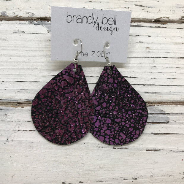 ZOEY (3 sizes available!) - Leather Earrings  ||  IRIDESCENT PURPLE/GREEN DRIPS
