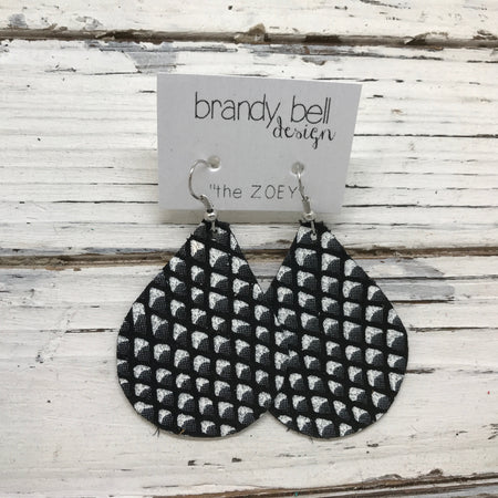 miniZOEY + ZOEY - Leather Earrings  ||  BLACK & WHITE MATTE MERMAID