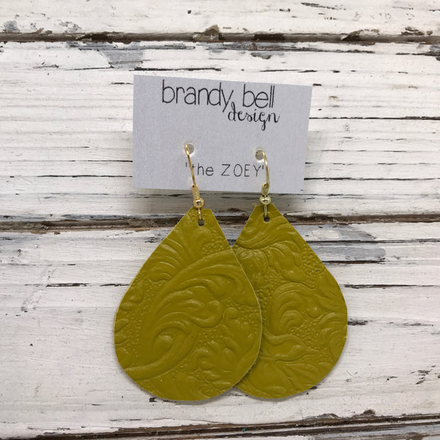 ZOEY (3 sizes available!) - Leather Earrings  ||  FLORAL CHATREUSE YELLOW