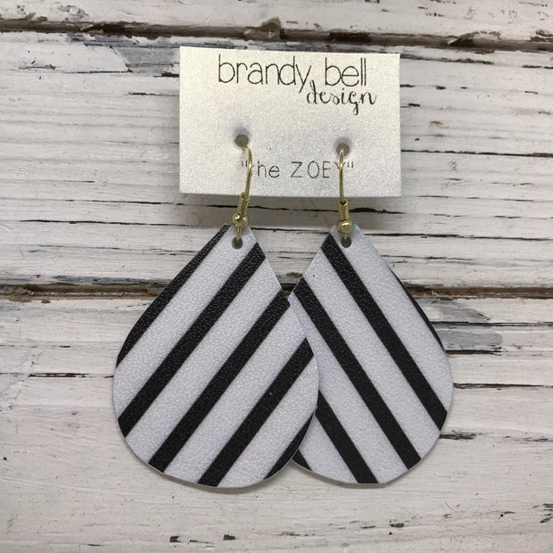 ZOEY (3 sizes available!) - Leather Earrings  ||  BLACK & WHITE STRIPE