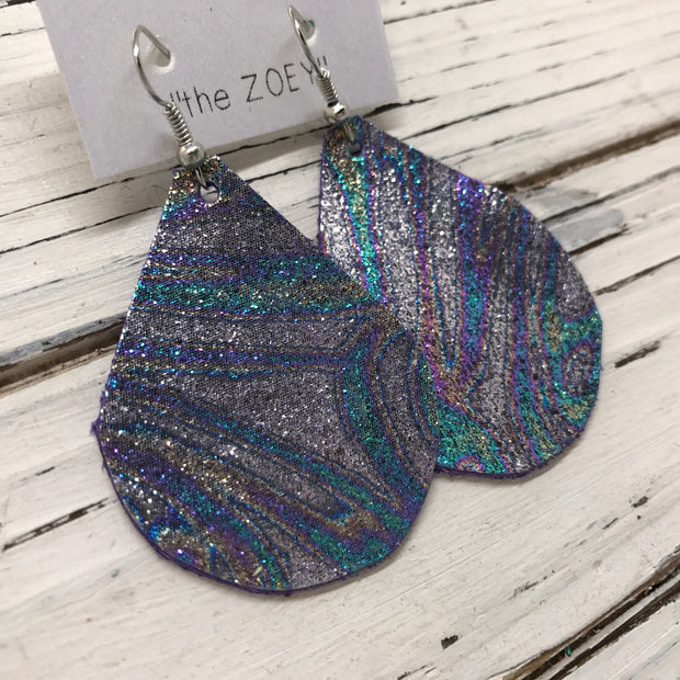 ZOEY (3 sizes available!) - Leather Earrings  ||  METALLIC IRIDESCENT SWIRL