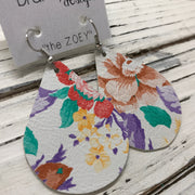 ZOEY (3 sizes available!) - Leather Earrings  ||  FLORAL ON WHITE BACKGROUND
