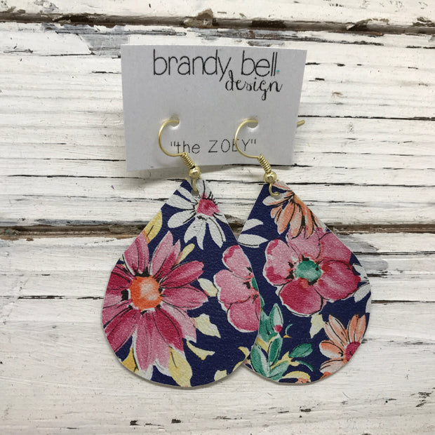 ZOEY (3 sizes available!) - Leather Earrings  ||  FLORAL ON NAVY BACKGROUND