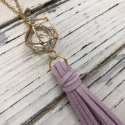 TASSEL NECKLACE - TIFFANIE    ||  LILAC TASSEL WITH GOLD CAGE BEAD WITH CLEAR GEM