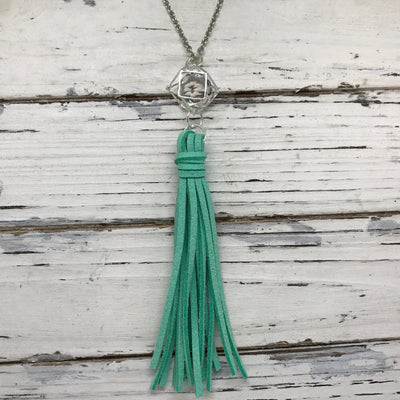 TASSEL NECKLACE - TIFFANIE    ||  MINT TASSEL WITH SILVER CAGE BEAD WITH CLEAR GEM