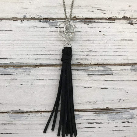 TASSEL NECKLACE - TIFFANIE    ||  BLACK TASSEL WITH SILVER CAGE BEAD WITH CLEAR GEM