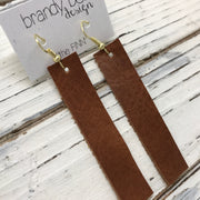 FINN - Leather Earrings  ||  MATTE BROWN