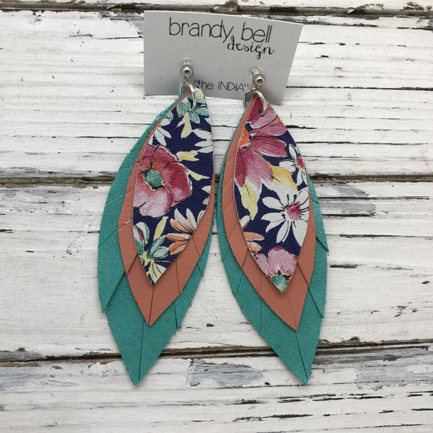 INDIA - Leather Earrings  ||  FLORAL ON NAVY BLUE, MATTE CORAL, PEARLIZED AQUA