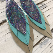 INDIA - Leather Earrings  ||  METALLIC IRIDESCENT SWIRL, MATTE ROBINS EGG BLUE, METALLIC CHAMPAGNE