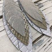 INDIA - Leather Earrings  ||  SHIMMER SILVER, METALLIC CHAMPAGNE COBRA, WHITE BASKET WEAVE