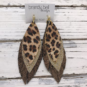 INDIA - Leather Earrings  ||  CHEETAH/LEOPARD PRINT, METALLIC GOLD DRIPS, SHIMMER COPPER ON BLACK