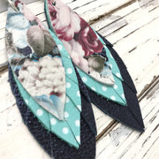 INDIA - Leather Earrings  ||  VINTAGE FLORAL, AQUA WITH WHITE POLKA DOTS, METALLIC NAVY BLUE TEXTURE
