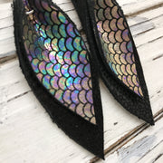 ALLIE -  Leather Earrings  || METALLIC ANTIQUE MERMAID,  BLACK WITH GLOSS DOTS