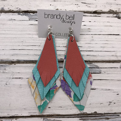 COLLEEN -  Leather Earrings  ||  MATTE SALMON, MATTE ROBINS EGG BLUE, FLORAL ON WHITE