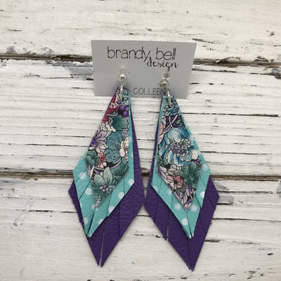 COLLEEN -  Leather Earrings  ||  TEAL/PURPLE FLORAL, AQUA WITH WHITE POLKADOTS, MATTE PURPLE