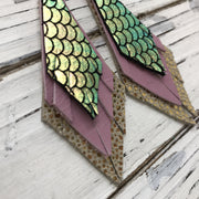 COLLEEN -  Leather Earrings  ||  METALLIC MERMAID IN PINK/GREEN/GOLD, ORCHID, METALLIC GOLD DRIPS
