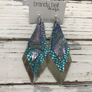 COLLEEN -  Leather Earrings  ||  METALLIC IRIDESCENT SWIRL, METALLIC TEAL COBRA, METALLIC SILVER