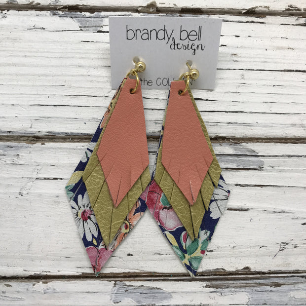 COLLEEN -  Leather Earrings  ||  MATTE CORAL, PEARLIZED OCHRE YELLOW, FLORAL ON NAVY BLUE