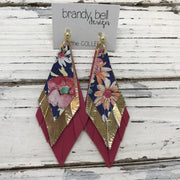 COLLEEN -  Leather Earrings  ||  FLORAL ON NAVY BLUE, METALLIC GOLD, MATTE PINK